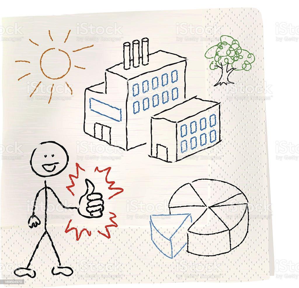 Napkin Sketch - Successful Business Owner vector art illustration