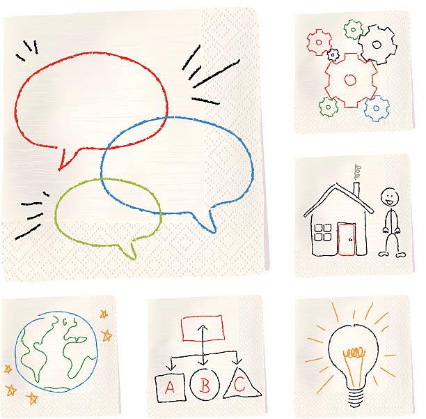 stockillustraties, clipart, cartoons en iconen met napkin sketches - concepts - servet