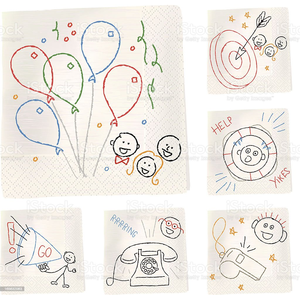 Napkin sketches - Objects vector art illustration