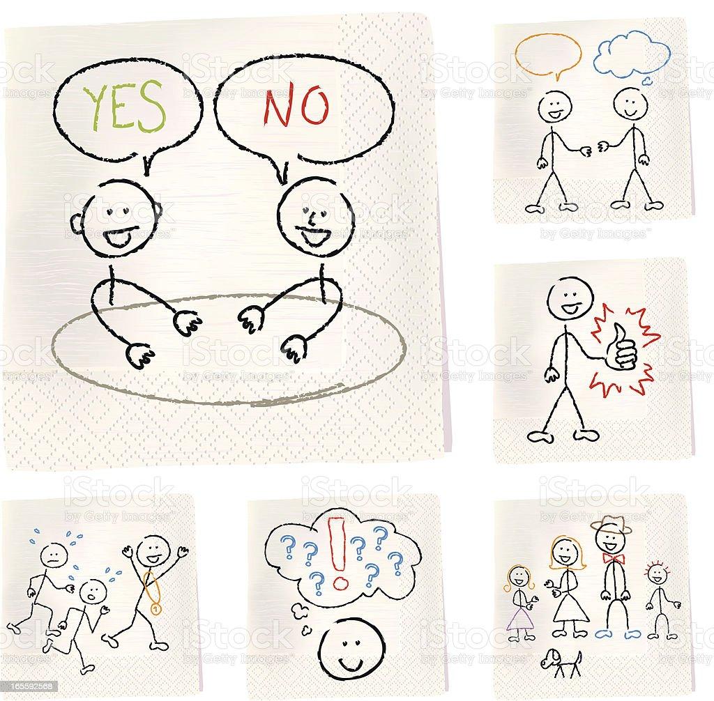 Napkin sketches - People vector art illustration