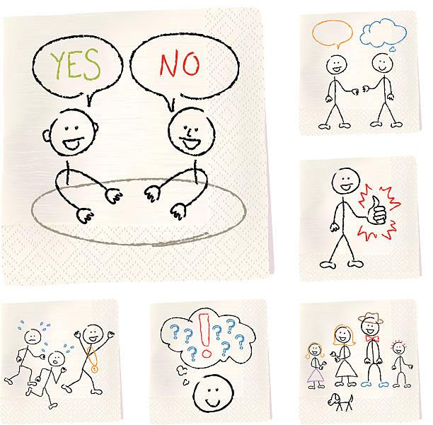 stockillustraties, clipart, cartoons en iconen met napkin sketches - people - servet