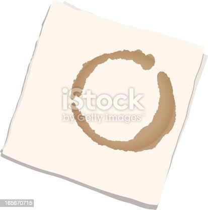 istock Napkin with coffee stain 165670715
