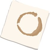 Vector illustration of a napkin with a coffee stain as seen from above.  Created in labeled layers for ease of editing and includes a high resolution JPEG and .AI files.
