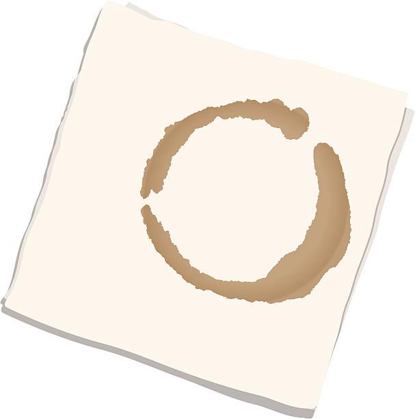 stockillustraties, clipart, cartoons en iconen met napkin with coffee stain - servet