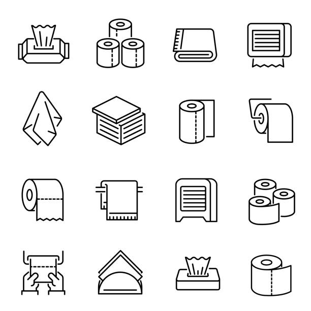 Napkins and toilet paper vector linear icons set vector art illustration