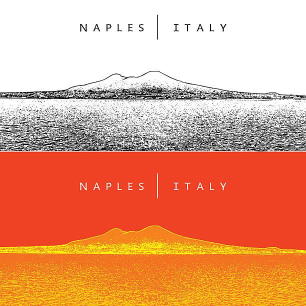 naples, italy. panoramic view and volcano vesuvius. - pompeii stock-grafiken, -clipart, -cartoons und -symbole