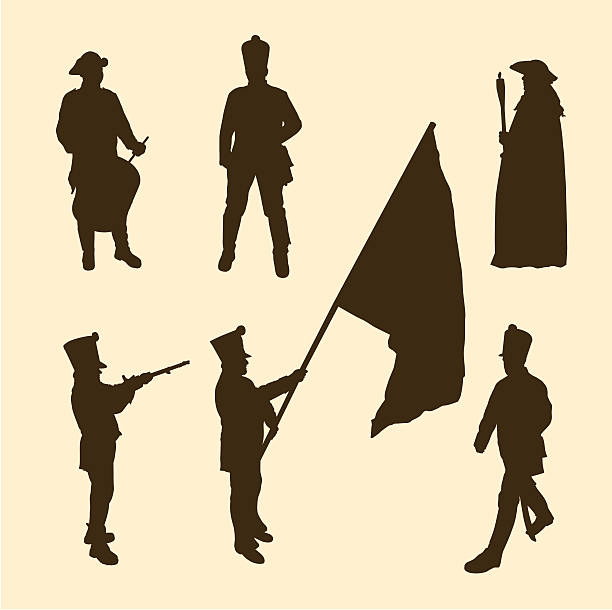 Napoleon army vector silhouettes of historic soldiers trooper stock illustrations