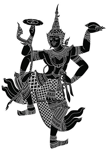 stockillustraties, clipart, cartoons en iconen met narayana or pra narai, the highest god - cambodja