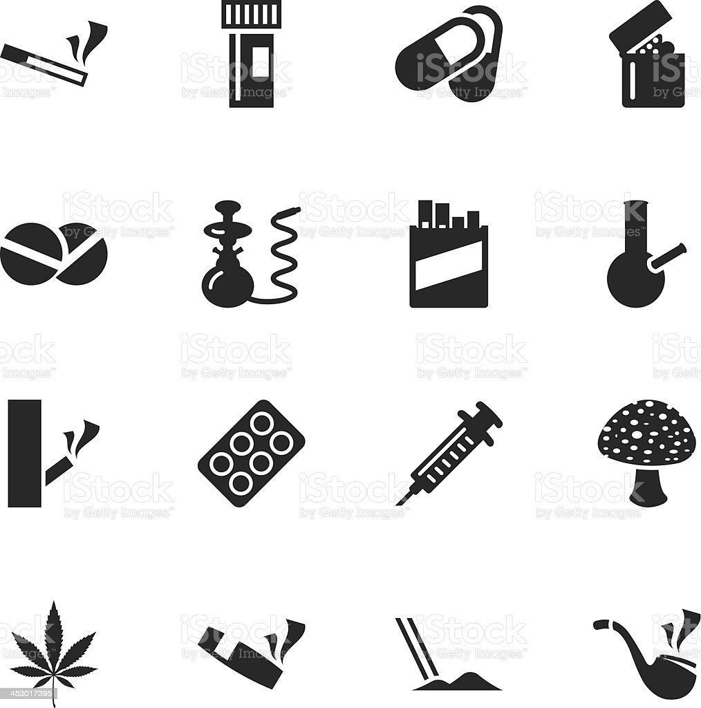 Narcotics and Drugs Silhouette Icons vector art illustration