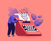 istock Narration Hobby, Creativity Concept. Tiny Male Character Writer or Professional Author Stand at Huge Typewriter 1295673889