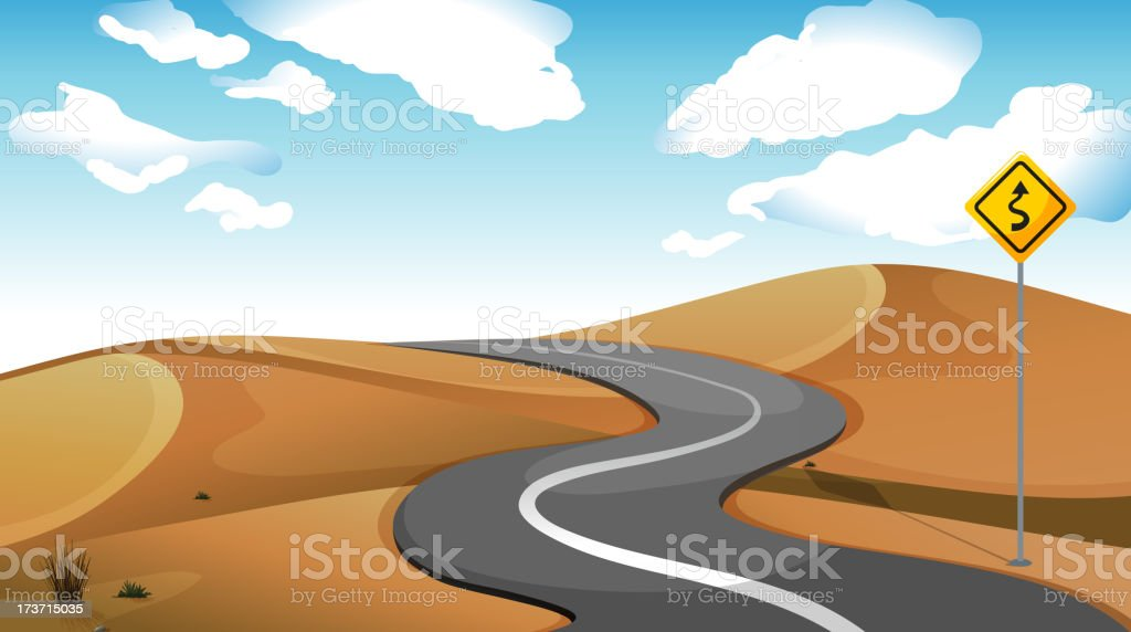 narrow road at the desert vector art illustration