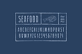 Narrow sans serif font in the style of hand-drawn graphics. Lobster cuts diagram. Letters and numbers with rough texture for label and emblem design