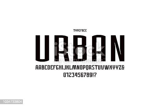 Narrow sans serif font in urban style. Letters and numbers for emblem and label design. Black print on white background