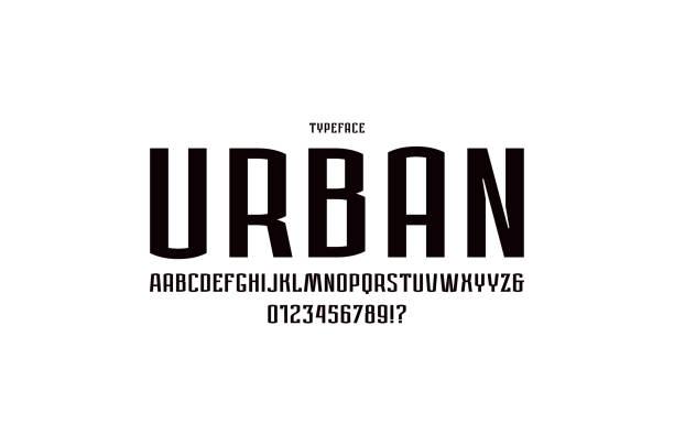 도시 스타일에 좁은 산세리프 글꼴 - 활판 인쇄 stock illustrations