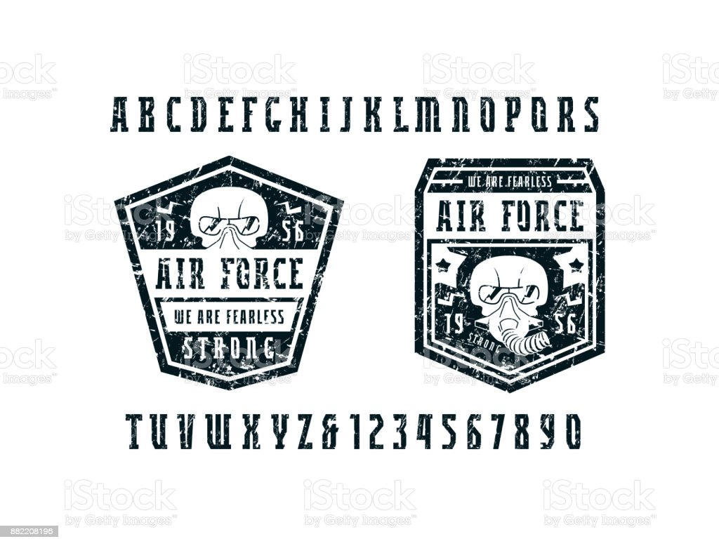 Narrow serif font and air force emblems vector art illustration