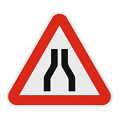 Narrowing of the road icon, flat style.