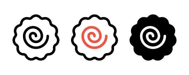 Narutomaki or kamaboko surimi vector icons set in different styles