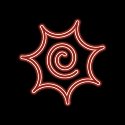Narutomaki or kamaboko surimi vector outline icon neon color in black