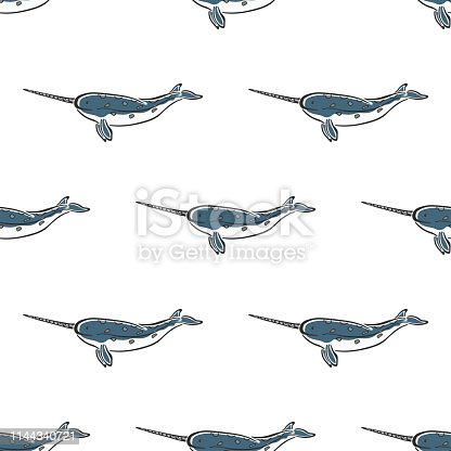 Narwhal whale character abstract ink hand drawn vector seamless pattern. Marine mammal. Ocean, sea animal curve paint sign. Doodle color sketch illustration. Realistic element design, fabric printing.