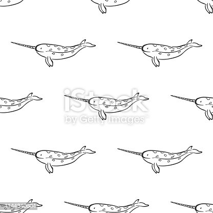 Narwhal whale character abstract hand drawn vector seamless pattern. Marine mammal. Ocean and sea animal curve paint sign. Doodle line sketch illustration. Realistic element design, fabric printing.