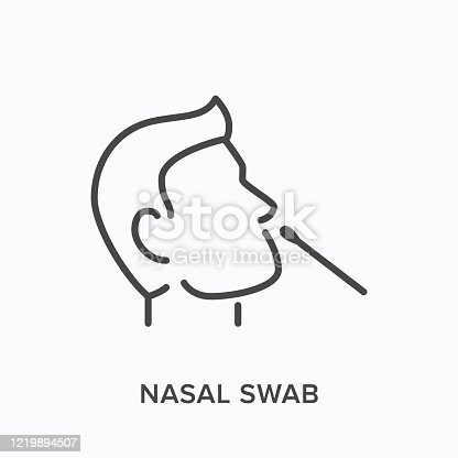 Nasal swab line icon. Vector outline illustration of viral exam. Head and virus test pictorgam.