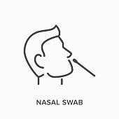 istock Nasal swab line icon. Vector outline illustration of viral exam. Head and virus test pictorgam 1219894507