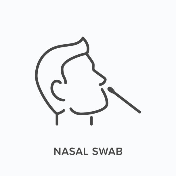 nasal swab line icon. vector outline illustration of viral exam. head and virus test pictorgam - nos stock illustrations
