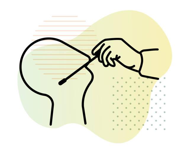 Nasal Swab - Nasopharyngeal Swab Testing - Icon Nasal Swab Testing - Icon as eps 10 File. nasal swab stock illustrations