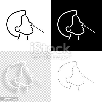 istock Nasal swab test. Icon for design. Blank, white and black backgrounds - Line icon 1297974029
