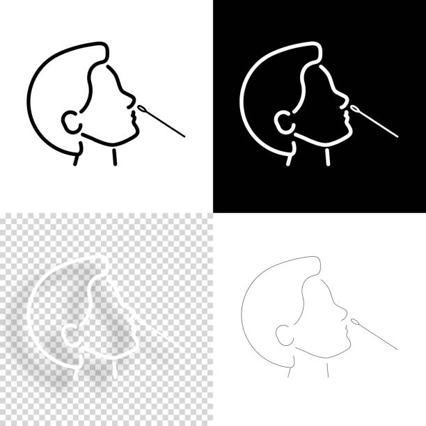 Nasal swab test. Icon for design. Blank, white and black backgrounds - Line icon vector art illustration