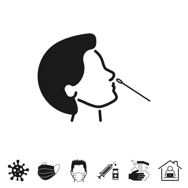 Nasal swab test. Icon for design on white background Nasal swab test. Trendy icon isolated on white and blank background for your design. Includes 6 popular icons: - Coronavirus cell (COVID-19), - Medical or surgical face mask, - Man in medical face protection mask, - Vaccination - Syringe and vaccine vial, - Washing hands with soap and water, - Work from home. Vector Illustration (EPS10, well layered and grouped), easy to edit, manipulate, resize or colorize. And Jpeg file of different sizes. nasal swab stock illustrations