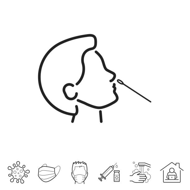 Nasal swab test. Line icon - Editable stroke Nasal swab test. Trendy icon isolated on white and blank background for your design. Includes 6 popular icons: - Coronavirus cell (COVID-19), - Medical or surgical face mask, - Man in medical face protection mask, - Vaccination - Syringe and vaccine vial, - Washing hands with soap and water, - Work from home. Vector Illustration (EPS10, well layered and grouped), easy to edit, manipulate, resize or colorize. And Jpeg file of different sizes. nasal swab stock illustrations
