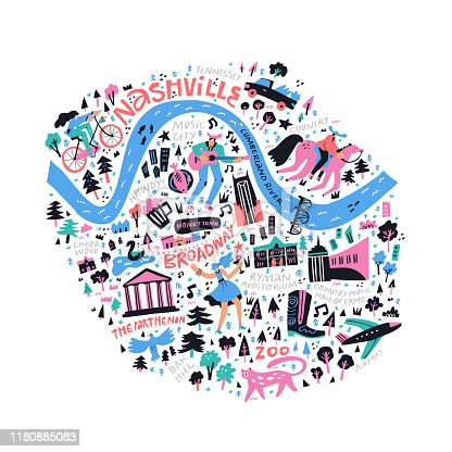Nashville map flat hand drawn vector illustration. USA state journey doodle map isolated on white background. City attractions and nature landmarks cartoon drawings. American tourism poster design
