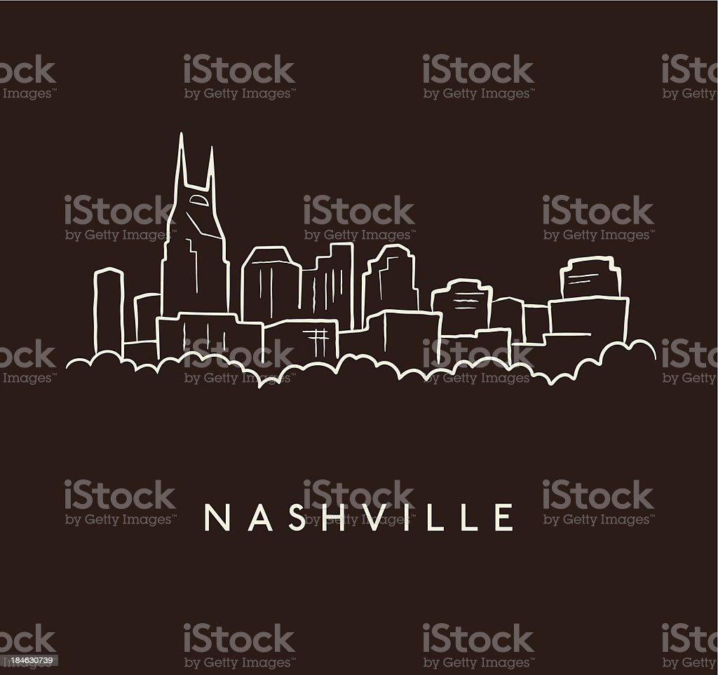 Nashville Skyline Sketch vector art illustration