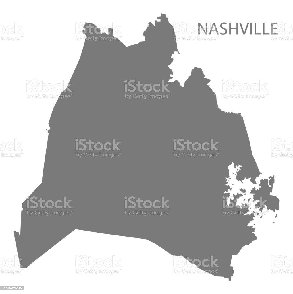 Nashville Tennessee City Map Grey Illustration Silhouette Shape ...