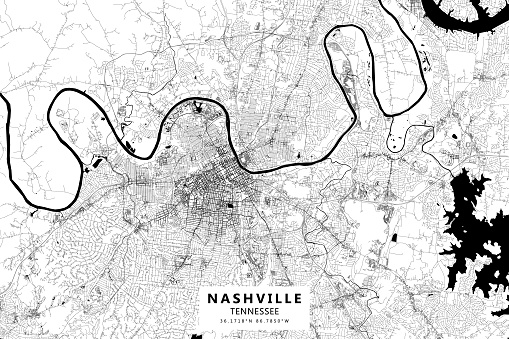 Nashville, Tennessee, USA Vector Map