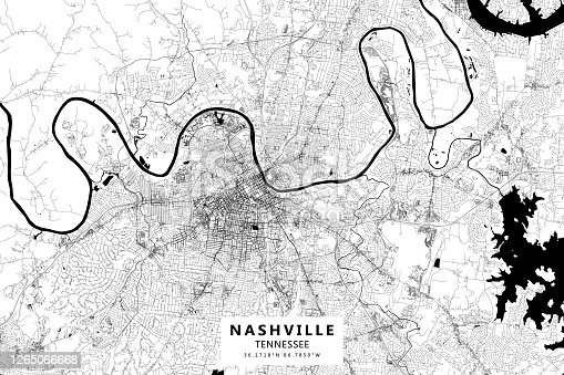 istock Nashville, Tennessee, USA Vector Map 1265066668