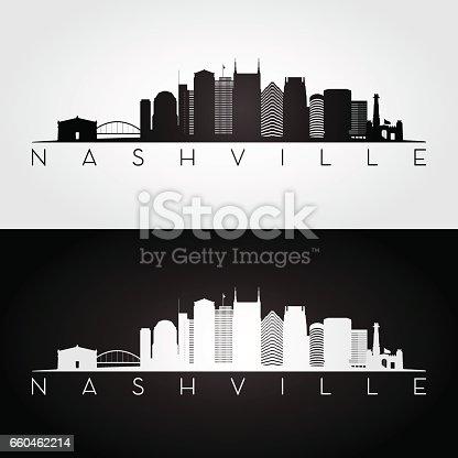 Nashville USA skyline and landmarks silhouette