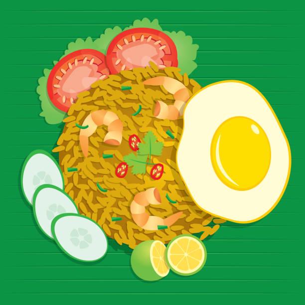 """stockillustraties, clipart, cartoons en iconen met nasi goreng betekenend """"gebakken rijst"""", is een rijstschotel met stukken van vlees en groenten toegevoegd vector illustratie. - indonesische cultuur"""
