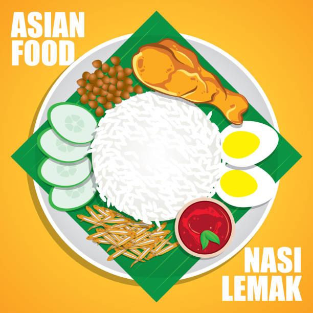 stockillustraties, clipart, cartoons en iconen met nasi lemak, een traditionele maleisische curry pasta rijstgerecht geserveerd op een banaan blad met sambal, gebakken kip, komkommer, ikan gal (ansjovis), pinda's en gekookt ei - indonesische cultuur