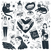 Vector collection of doodle feminist pictures and symbols. Isolated on white background.