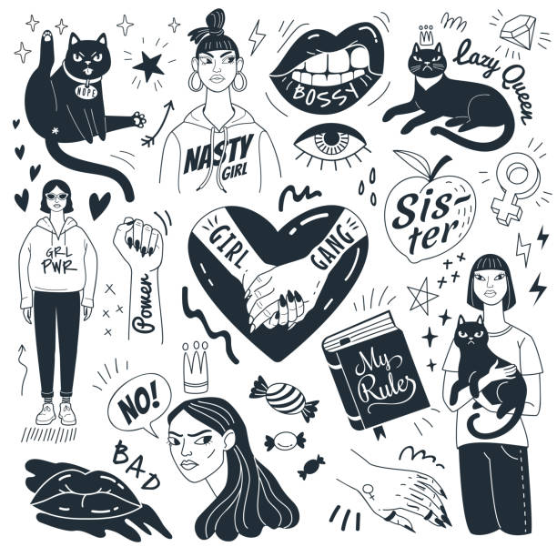 Nasty girls and grumpy cats. Vector collection of doodle feminist pictures and symbols. Isolated on white background. candy drawings stock illustrations