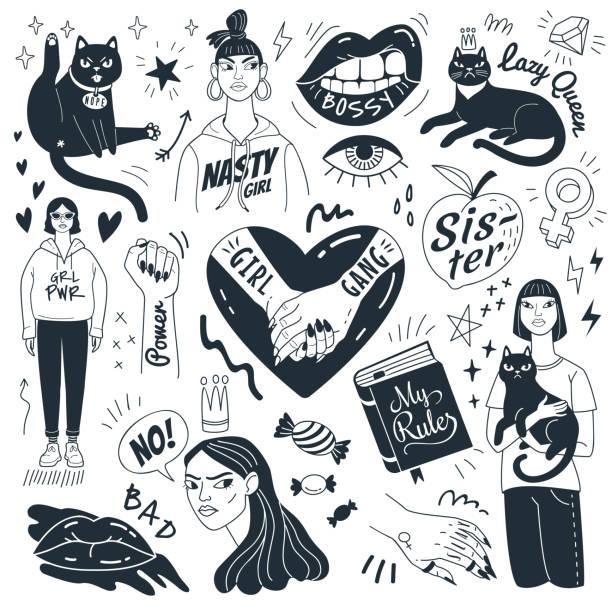 ilustrações de stock, clip art, desenhos animados e ícones de nasty girls and grumpy cats. - tatuagem