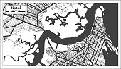 Natal Brazil City Map in Black and White Color in Retro Style. Outline Map.