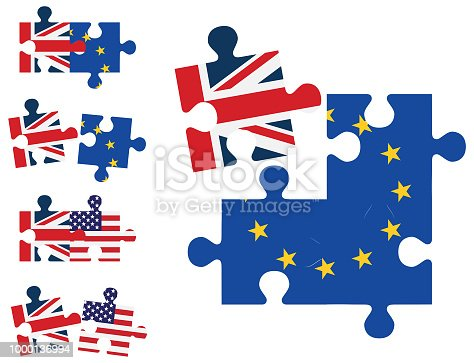 Vector illustration of jigsaw pieces showing the relationships between Europe, United Kingdom and America
