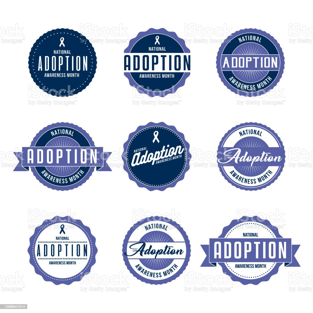 National Adoption Awareness Month Labels Icon Set Stock Vector Art