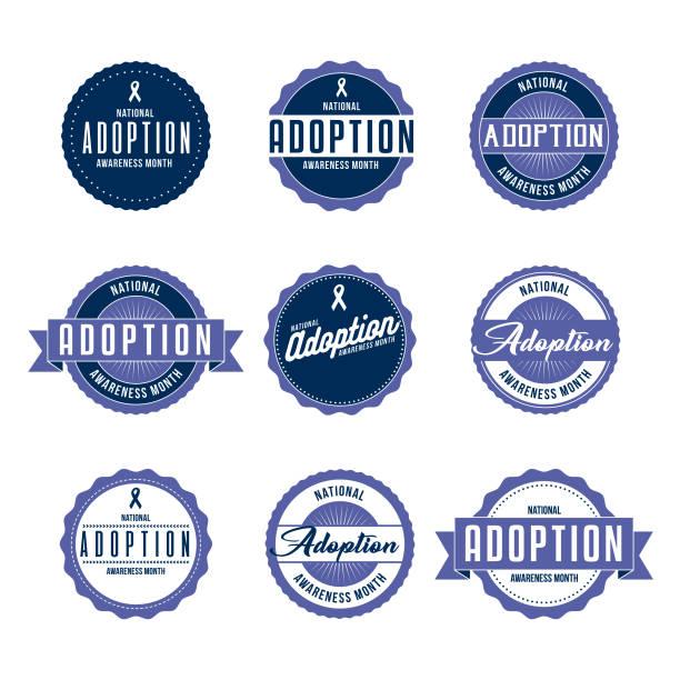 nationale übernahme awareness month etiketten-icon-set - adoption stock-grafiken, -clipart, -cartoons und -symbole