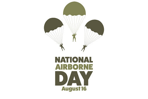 National Airborne Day. August 16. Holiday concept. Template for background, banner, card, poster with text inscription. Vector EPS10 illustration