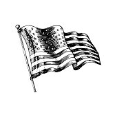 National American flag, vector illustration drawn in engraved style. Used for greeting card, festive poster.