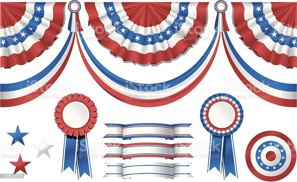 National American symbolics - flag and awards vector art illustration